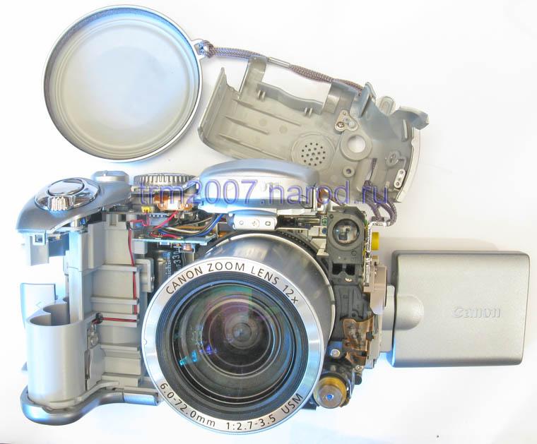 Canon PowerShot S2 IS со снятыми крышками. Вид спереди.