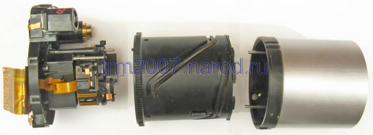 Объектив Canon PowerShot S2 IS в разборе. Вид сбоку.